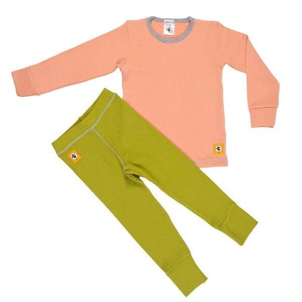 Детски комплект 100% мерино - блуза и клин в розово и зелено