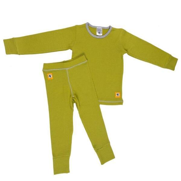 Детски комплект 100% мерино - блуза и клин в зелено