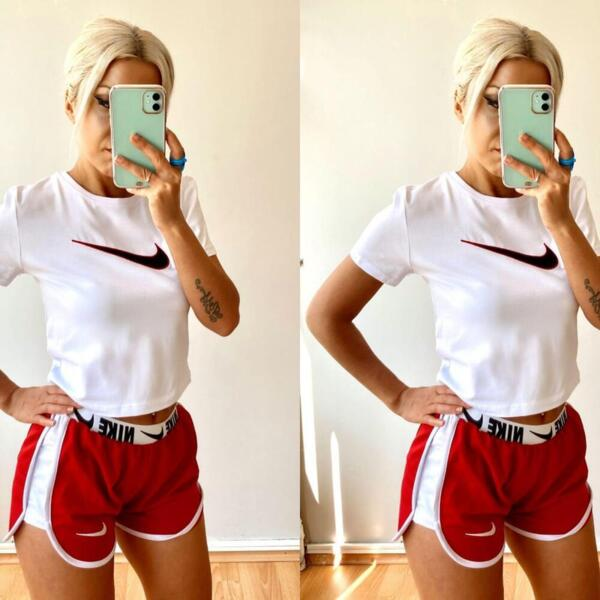 Sommer Sport-Outfit in Rot und Weiß