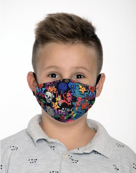 Двуслойна детска маска с метален стек 8-12 г