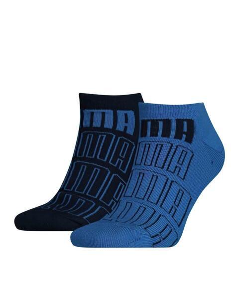 PUMA 2-Pack Seasonal Logo Sneaker Socks Blue