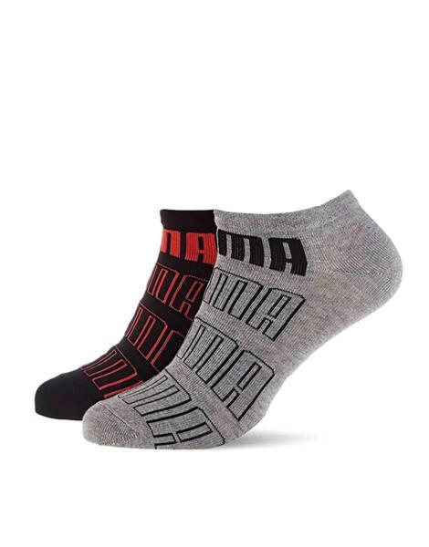 PUMA 2-Pack Seasonal Logo Sneaker Socks Black/Grey