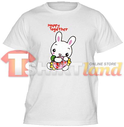 Детска тениска със зайче и надпис Happy together