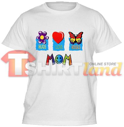 Детска тениска с надпис Hugs, Love, Kisses MOM