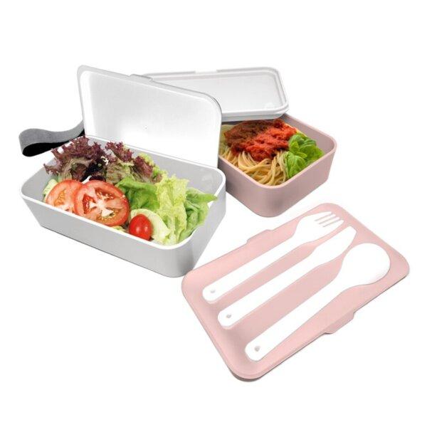 Комплект херметически кутии за храна с прибори - 2 х 500 мл. - цвят розов/бял