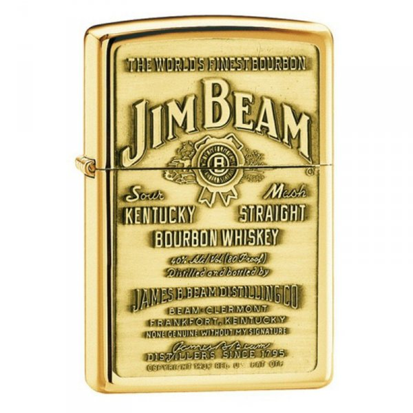 Запалка  Zippo Jim Beam Label High Polish Brass