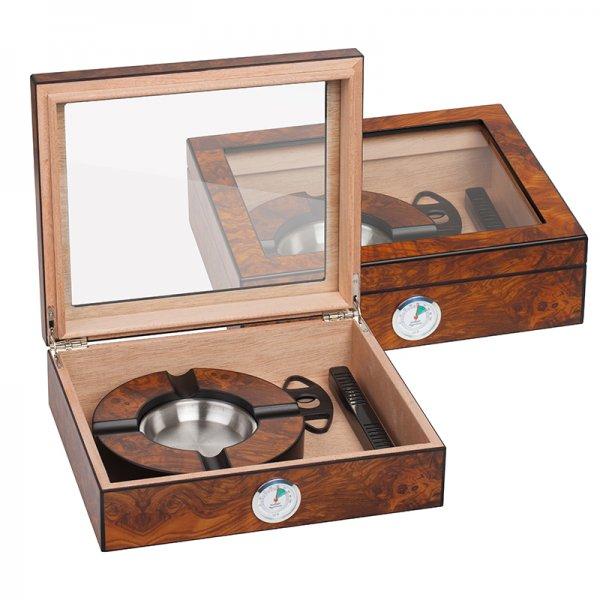 Кутия за пури стъкло SILVER FLAME, кафява