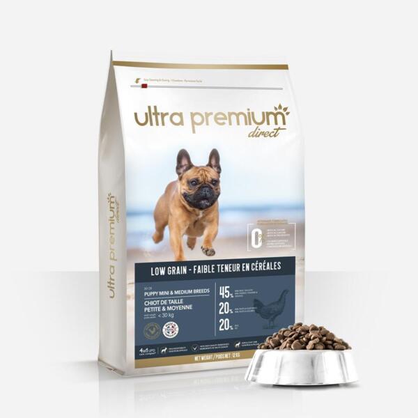 Ultra Premium Direct Puppy mini&medium breeds - суха храна за подрастващи кученца от дребни и средни породи, с ниско съдържание на зърно
