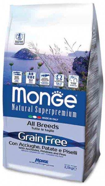 MONGE GRAIN FREE Adult Anchovies Potatoes and Peas храна за кучета в зряла възраст от всички породи