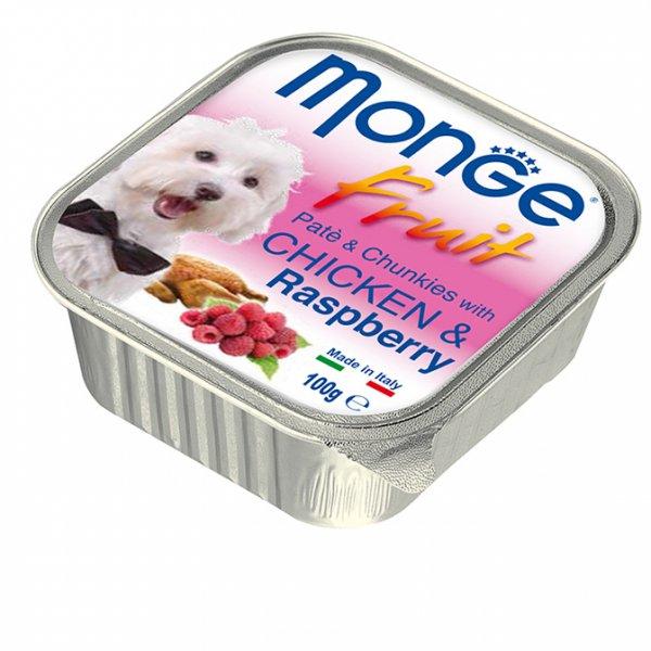 MONGE FRUIT Paté & Chunkies Chicken & Raspberry пастет - хапки с пиле и малини