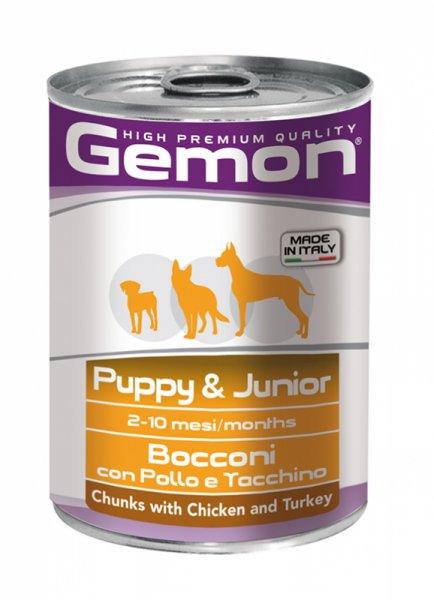GEMON junior chicken & turkey - консерва хапки за подрастващи кучета от всички породи с пилешко и пуешко