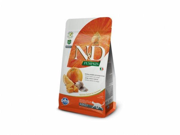 N&D CAT PUMPKIN HERRING&ORANGE ADULT – пълноценна храна с тиква за котки над 1 година, с херинга и портокали