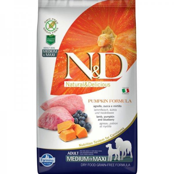N&D GF PUMPKIN LAMB&BLUEBERRY ADULT MEDIUM&MAXI - пълноценна храна с тиква за кучета в зряла възраст над 1г. от средните и едри породи с агне и боровинки 12 кг.