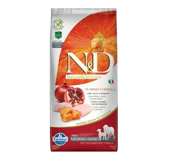 N&D GF PUMPKIN CHICKEN &POMEGRANATE ADULT MEDIUM&MAXI - пълноценна храна с тиква за кучета в зряла възраст над 1г. от средните и едри породи с пиле и нар 12 кг.