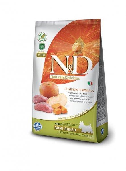 N&D GF PUMPKIN BOAR&APPLE., ADULT MINI - пълноценна храна с тиква за кучета в зряла възраст над 1г. от дребните породи с месо от глиган и ябълка