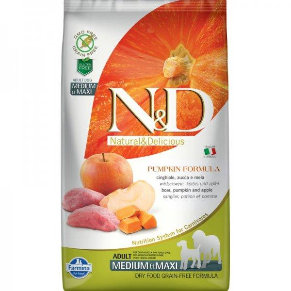 N&D GF PUMPKIN BOAR&APPLE ADULT MEDIUM&MAXI - пълноценна храна с тиква за кучета в зряла възраст над 1г. от средните и едри породи с месо от глиган и ябълка 12 кг.