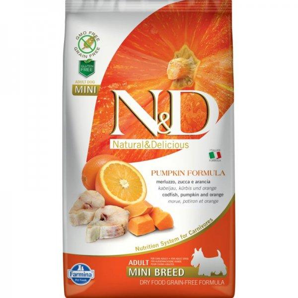 N&D GF PUMPKIN CODFISH&ORANGE, ADULT MINI - пълноценна храна с тиква за кучета в зряла възраст над 1г. от дребните породи с риба треска и портокал