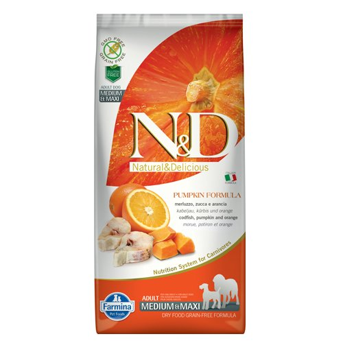 N&D GF PUMPKIN CODFISH&ORANGE ADULT MEDIUM&MAXI - пълноценна храна с тиква за кучета в зряла възраст над 1г. от средните и едри породи с риба треска и портокал 12 кг.