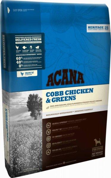 Acana Chicken & Greens - суха храна за кучета с пилешко месо и зеленчуци,подходяща за средни и големи породи,и възраст над 12 месеца 11.4 кг.