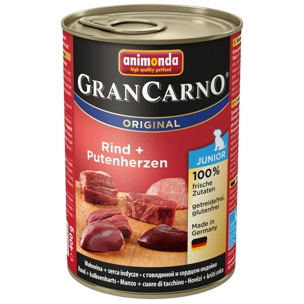 GranCarno® Junior консерви за малки и млади кучета два вкуса