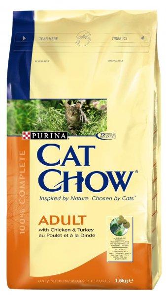 CAT CHOW ADULT храна за котки с пилешко и пуешко