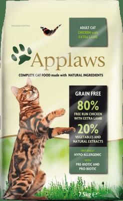 APPLAWS ADULT CHICKEN&LAMB суха храна за израснали котки с 80% пиле и агне