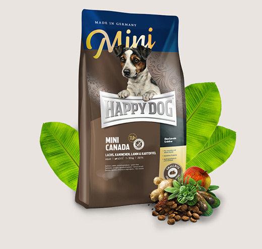 HAPPY DOG SUPREME MINI CANADA храна за чувствителни кучета от дребни породи с заек,сьомга  агне