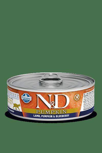N&D CAT LAMB & PUMPKIN & BLUEBERRY консерва за котки с агнешко месо, тиква и боровинки