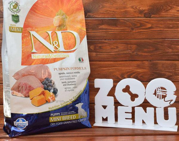 N&D GF PUMPKIN LAMB&BLUEBERRY PUPPY MINI – пълноценна храна с тиква за подрастващи кучета от дребните породи с агне и боровинки