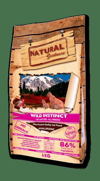 Natural Greatness Wild Instinct Chicken & Turkey суха храна за малки и подрастващи котки с пиле и пуйка 86% месо