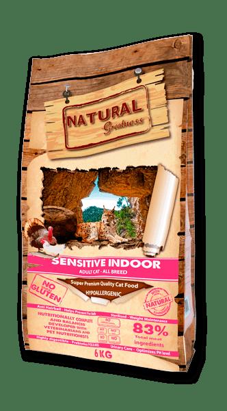 Natural Greatness Sensitive Indoor суха храна за котки с пиле 83% месо