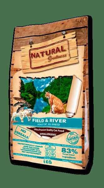 Natural Greatness Field & River Salmon & Lamb суха храна за котки със сьомга и агнешко 83% месо