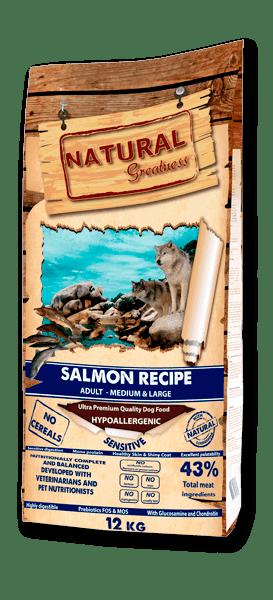 Natural Greatness Salmon Recipe Sensitive Adult Medium & Large суха храна за кучета от средни и едри породи със сьомга