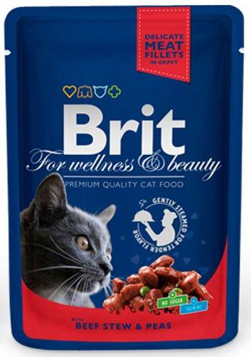 BRIT CAT PREMIUM POUCHES с говеждо месо и грах