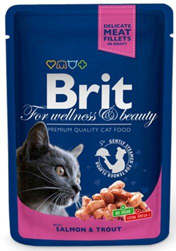 BRIT CAT PREMIUM POUCHES с сьомга и пъстърва