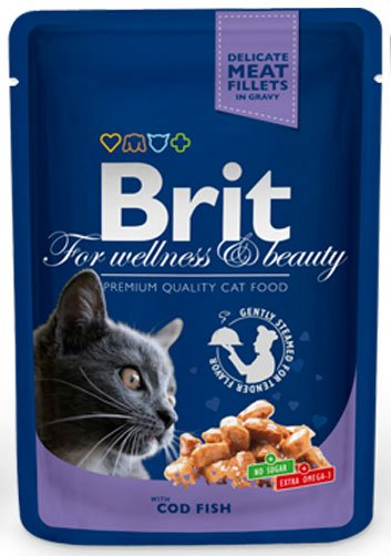 BRIT CAT PREMIUM POUCHES с риба треска