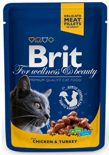 BRIT CAT PREMIUM POUCHES с пиле и пуйка