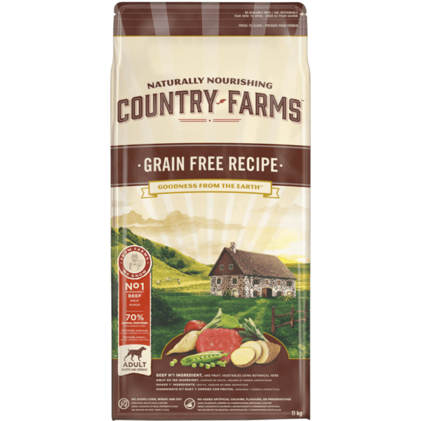 COUNTRY FARMS Grain Free, суха храна за кучета над 1 година от средни и едри породи, с Говеждо