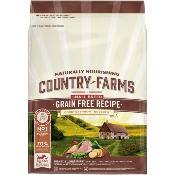 COUNTRY FARMS Grain Free Small & Mini Puppy, суха храна за кучета дo 1 година от дребни и мини породи, с Пуйка, 2.5kg