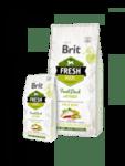 Brit Fresh Duck with Millet Adult Run & Work холистична суха за активни кучета от всички породи, с прясно патешко месо, тиквички и спанак