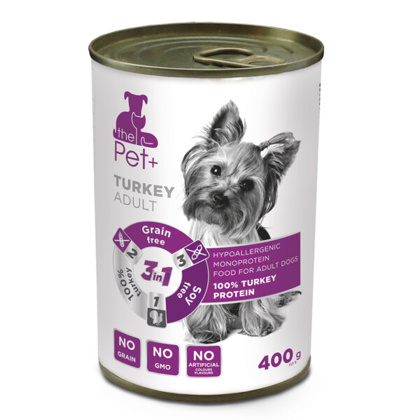 The Pet + Adult Turkey - консерва за куче с 100% пуешко месо, без зърно