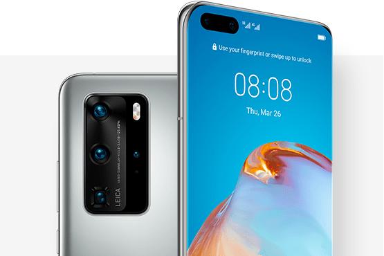 Мобилен телефон P40 Pro в цвят Silver Frost.