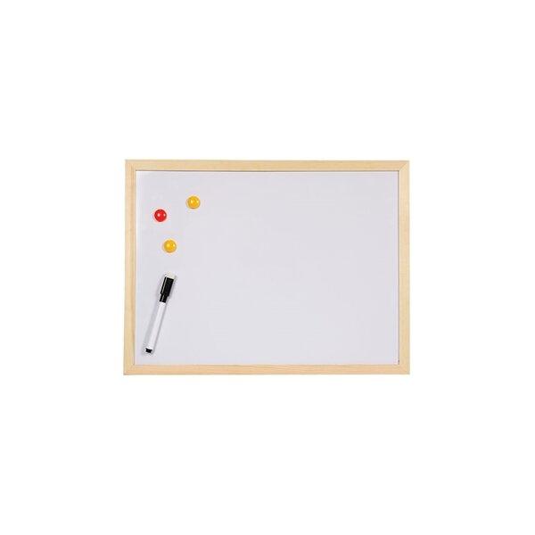 Office 1 Superstore Бяла дъска, магнитна, с дървена рамка, 40 x 60 cm