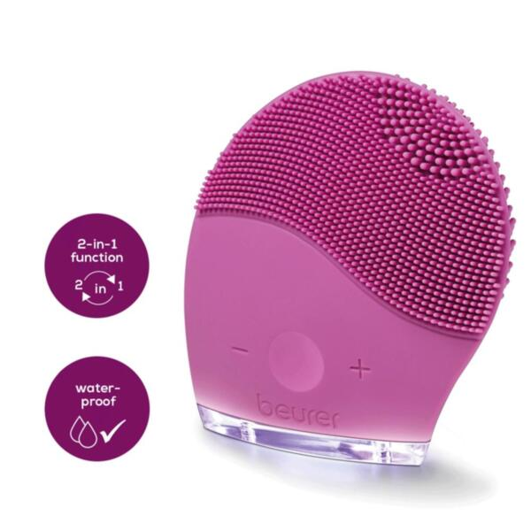 Beurer FC 49 Facial brush,2-in-1 function, 15 speeds,waterproof, vibrating,Lithium-ion battery,3 cleansing zones