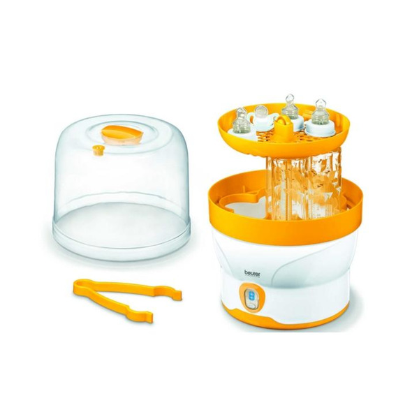 Beurer BY 76 steam steriliser; Disinfects up to 6 bottles and accessories in 7 minutes; LED display, tongs, removable bottle grid,measuring jug