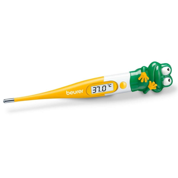 Beurer BY 11 Frog clinical thermometer, Contact-measurement technology, temperature alarm as from 37.8 C°, Display in C° and F°, Flexible measuring tip; Protective cap; Waterproof tip and