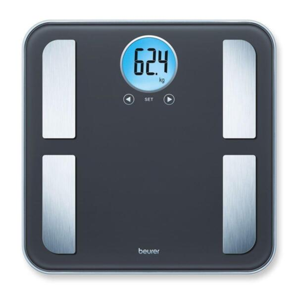 Beurer BF 195 diagnostic bathroom scale; round LCD display; Weight, body fat, body water, muscle percentage, bone mass, AMR calorie display; 180 kg