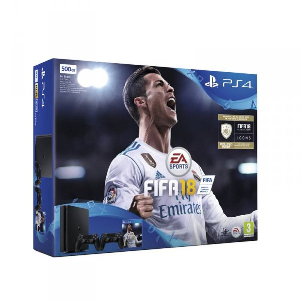 Конзола Sony PS4 500GB SLIM/FIFA 2018/DS4 V2/PS+14DAY