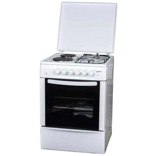 Готварска печка (ток/газ) Crown CR-6060V , 2 газ 2ток , Бял