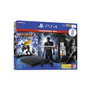 Конзола Sony PS4 1TB SLIM + 3 игри (R&C/TLOU/UC4)